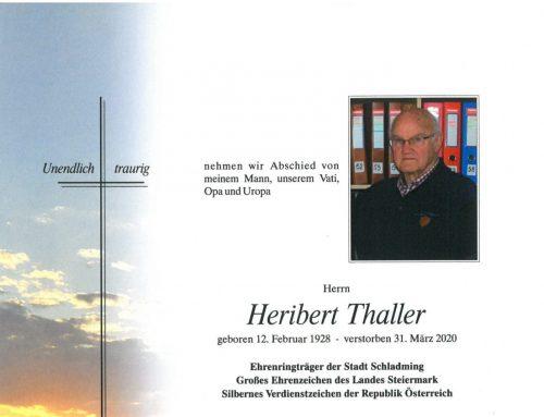 Gründungs- und Ehrenmitglied Heribert Thaller verstorben